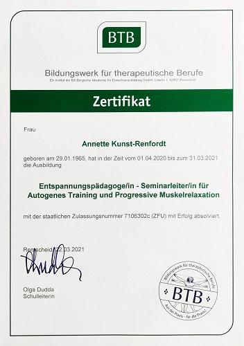 Annette kocht- Zertifikate