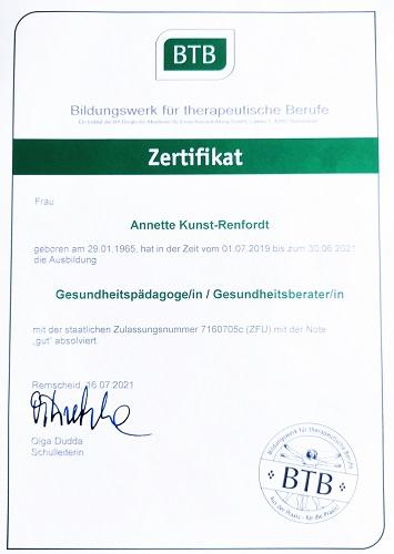 Annette kocht- Zertifikat Gesund